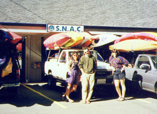 Loading up for our First Kayak & Canoe FestivalJune, 1997 at SNAC Arnold. Shawn, Jill & Tonja